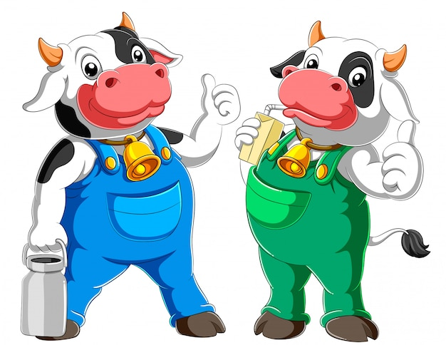 Desenho de duas vacas em pé e bebendo o leite da ilustração