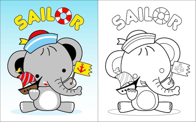 Desenho de elefante bebê o marinheiro júnior