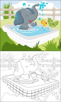 Desenho de elefante engraçado com um peixe na piscina