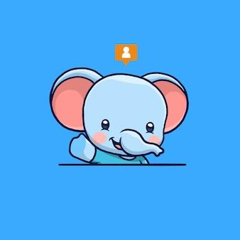 Desenho de elefante fofo acenando com a mão