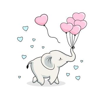 Desenho de elefante fofo com balão de amor