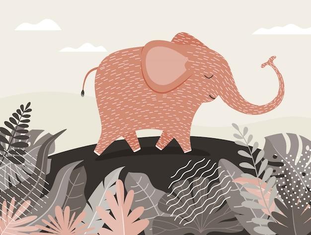 Desenho de elefante fofo entre selva com folhas e árvores.