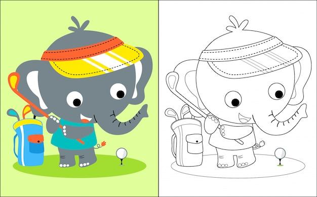 Desenho de elefante pequeno jogando golfe