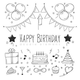 Desenho de elemento de feliz aniversário esboçado
