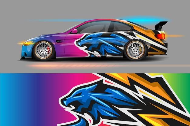Desenho de embalagem de carro com listra e desenho abstrato grunge