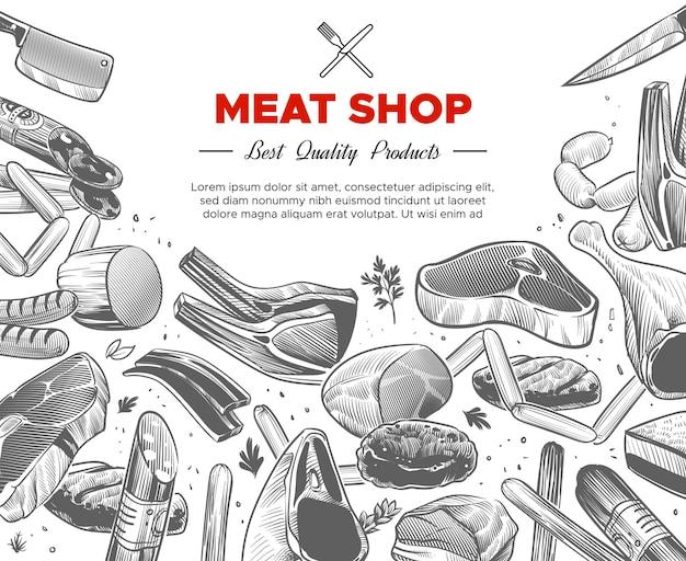 Desenho de embalagem de produtos orgânicos de carne desenhada à mão