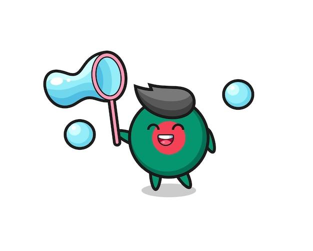 Desenho de emblema de bandeira de bangladesh feliz jogando bolha de sabão, design de estilo fofo para camiseta, adesivo, elemento de logotipo