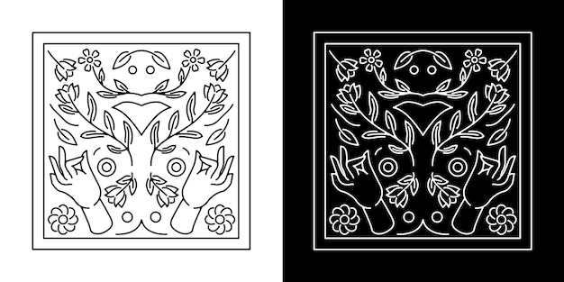 Desenho de emblema de mão com flor monoline