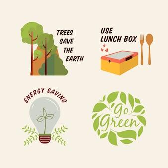 Desenho de emblemas de ecologia