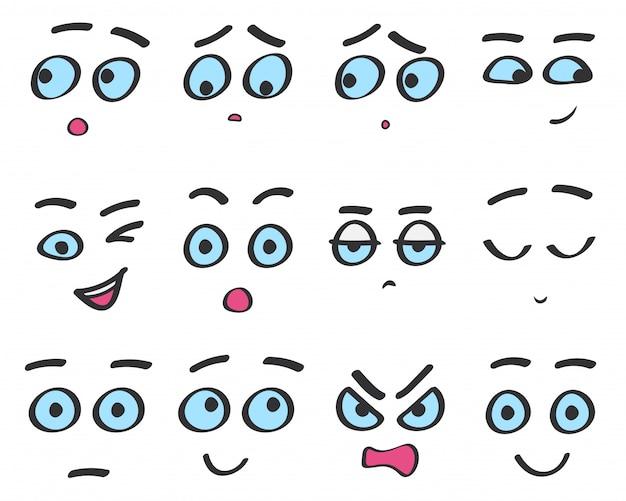 Desenho de emoji de linha de cor enfrenta conjunto. emoções de avatar engraçado isoladas.