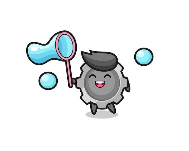 Desenho de engrenagem feliz jogando bolha de sabão, design de estilo fofo para camiseta, adesivo, elemento de logotipo