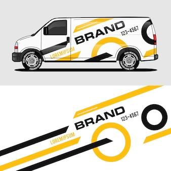 Desenho de envoltório de van amarela design de adesivo e decalque de embrulho
