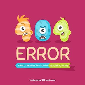 Desenho de erro 404 com três monstros