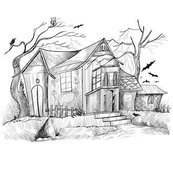 Desenho de esboço de casa assombrada de halloween desenhado à mão