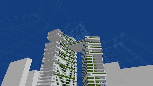 Desenho de esboço de ilustração arquitetônica em 3d, linhas de perspectiva de construção de arquitetura