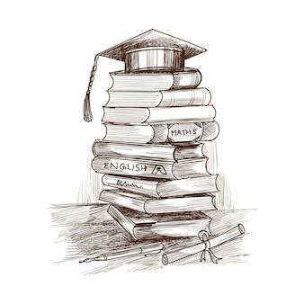 Desenho de esboço de livro educacional desenhado à mão criativa