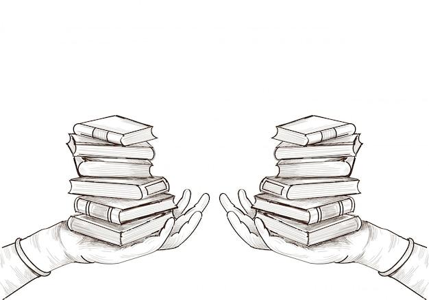 Desenho de esboço de livro educacional desenhado à mão