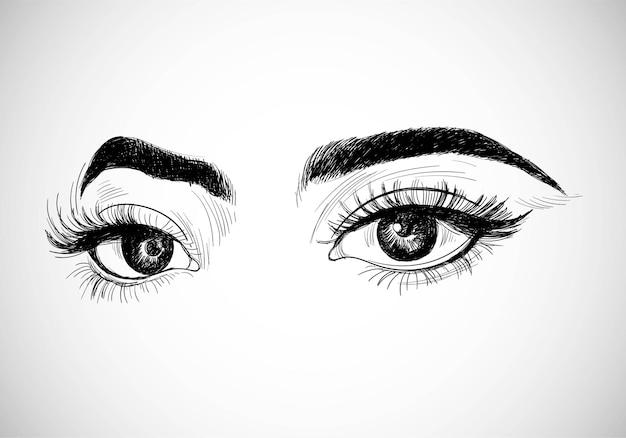Desenho de esboço de olhos de mulheres bonitos desenhados à mão