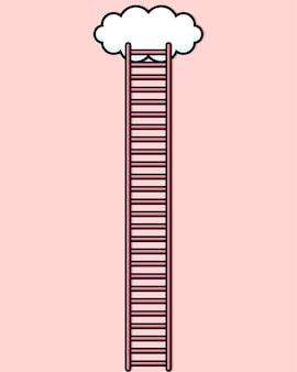 Desenho de escada para as nuvens