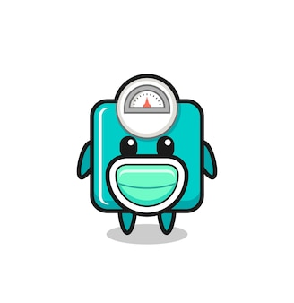 Desenho de escala de peso fofo usando uma máscara, design de estilo fofo para camiseta, adesivo, elemento de logotipo