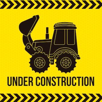 Desenho de escavadeira sobre ilustração vetorial de fundo amarelo
