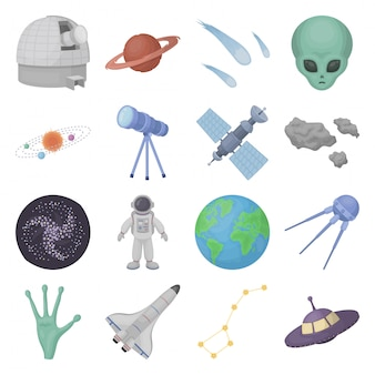 Desenho de espaço definir ícone