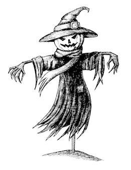 Desenho de espantalho de halloween