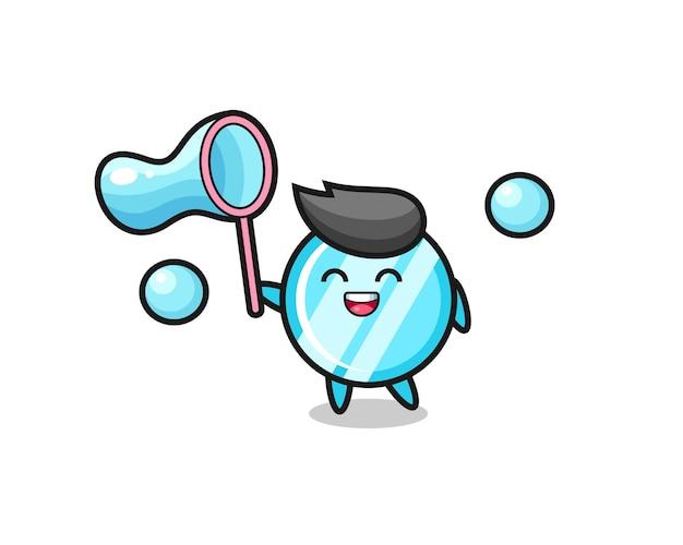 Desenho de espelho feliz jogando bolha de sabão, design de estilo fofo para camiseta, adesivo, elemento de logotipo