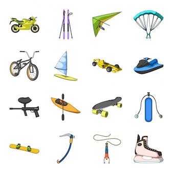 Desenho de esporte radical definir ícone. aventura. desenhos animados isolados definir ícone esporte radical.