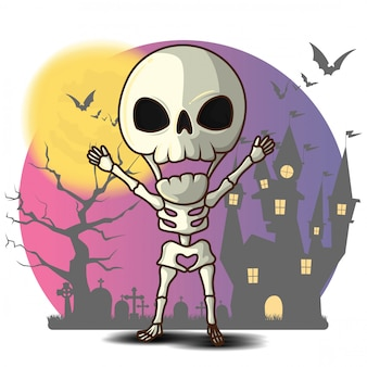 Desenho de esqueleto bonito, conceito de halloween.