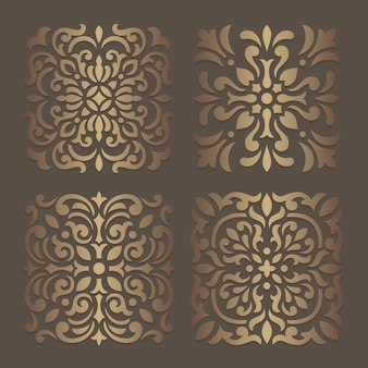 Desenho de estêncil de azulejos. padrão de silhueta ornamentado para corte a laser ou máquinas de corte e vinco. molde oriental do decalque de madeira.