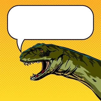Desenho de estilo cômico de uma cabeça de dinossauro falante com espaço vazio para o seu texto. ilustração quadrada para post de internet e rede social. clipart vetorial