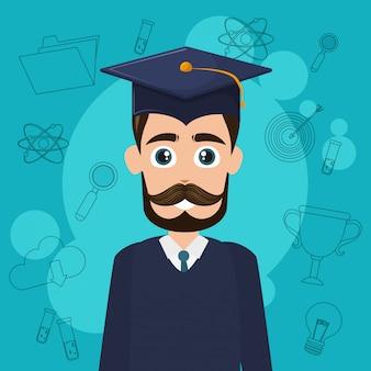 Desenho de estudante universitário