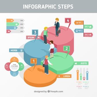 Desenho de etapas infográficas criativas