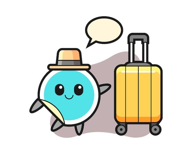 Desenho de etiqueta com bagagem de férias