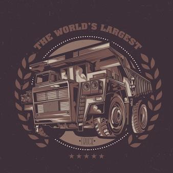 Desenho de etiqueta com ilustração de caminhão basculante