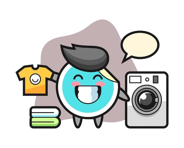 Desenho de etiqueta com máquina de lavar