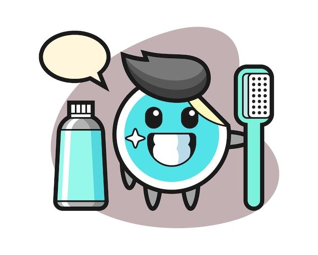Desenho de etiqueta com uma escova de dentes