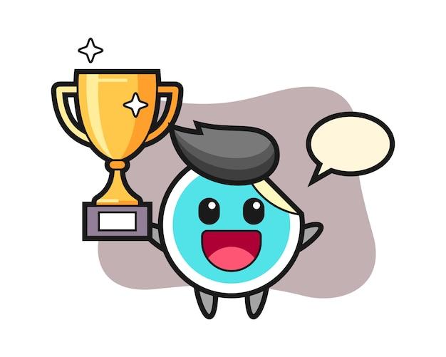 Desenho de etiqueta feliz segurando o troféu de ouro