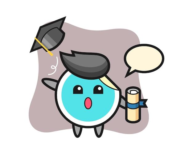 Desenho de etiqueta jogando o chapéu na formatura
