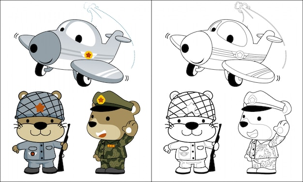 Desenho de exército de animais de coloração com avião engraçado
