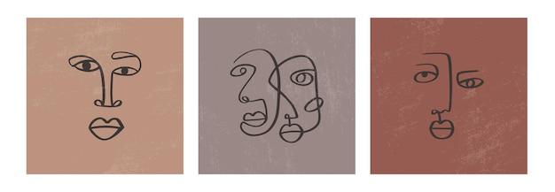 Desenho de faces de uma linha contínua abstrata