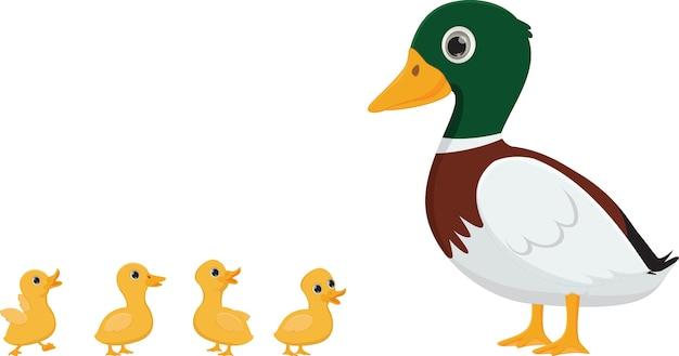 Desenho de família de pato
