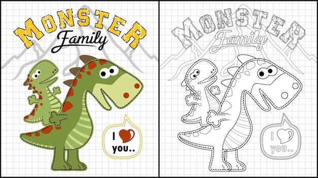 Desenho de família monstro engraçado