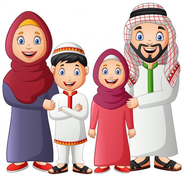 Desenho de família muçulmana feliz. ilustração