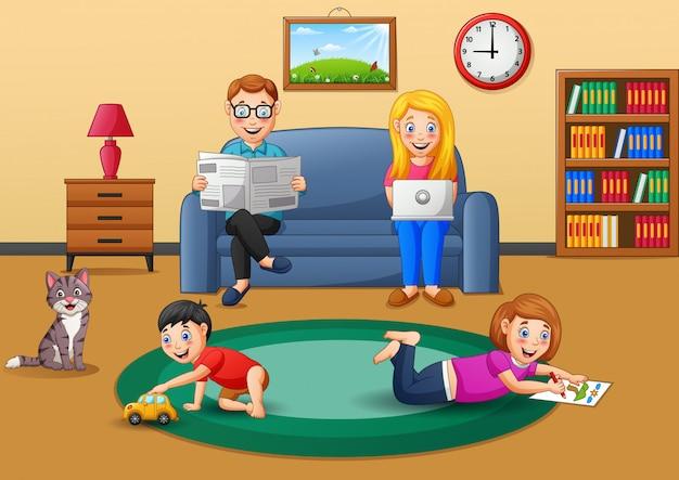 Desenho de família trabalhando ativo em casa. ilustração