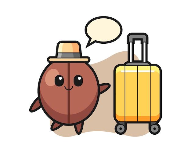 Desenho de feijão de café com bagagem de férias