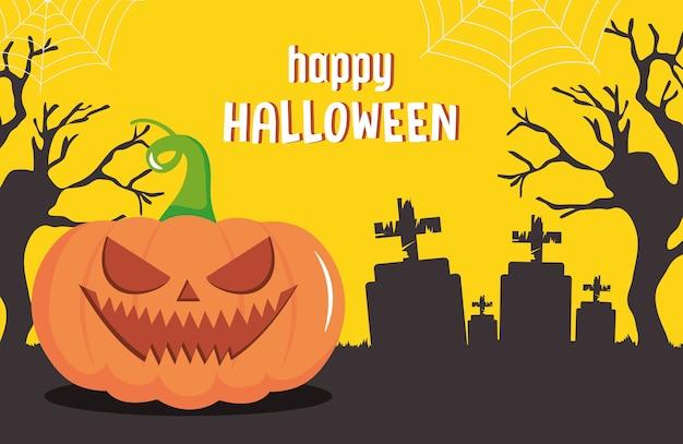 Desenho de feliz dia das bruxas com abóbora assustadora sobre o cemitério e fundo amarelo