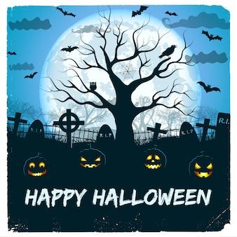 Desenho de feliz dia das bruxas com lanternas e cemitério com uma enorme lua brilhante e uma árvore