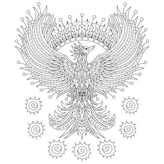 Desenho de fênix em estilo zentangle